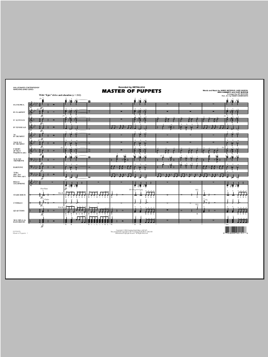 Master of Puppets (COMPLETE) sheet music for marching band by Metallica and Jay Bocook. Score Image Preview.