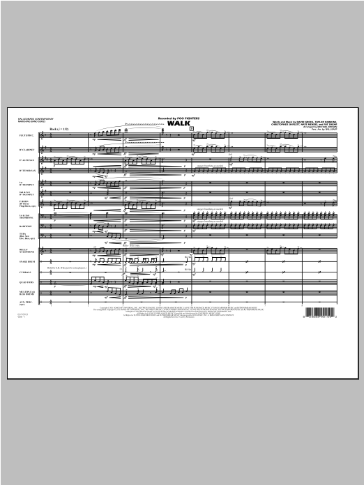 Walk (COMPLETE) sheet music for marching band by Michael Brown and Foo Fighters. Score Image Preview.