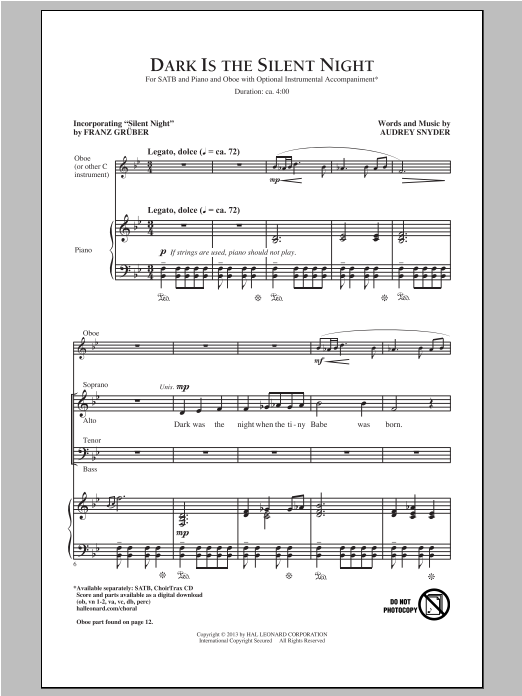 Dark Is The Silent Night Sheet Music