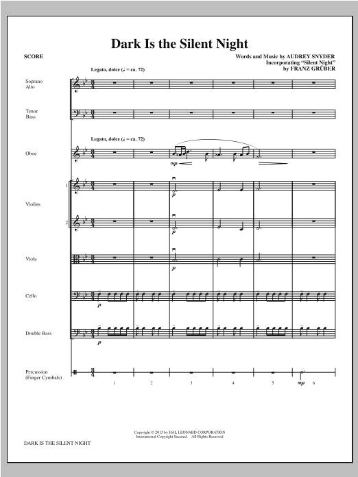Dark Is the Silent Night (COMPLETE) sheet music for orchestra/band by Audrey Snyder. Score Image Preview.