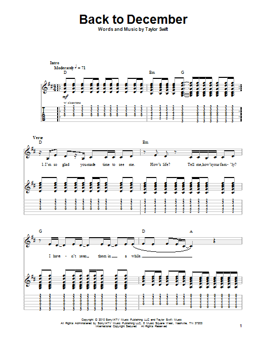 Tablature guitare Back To December de Taylor Swift - Autre