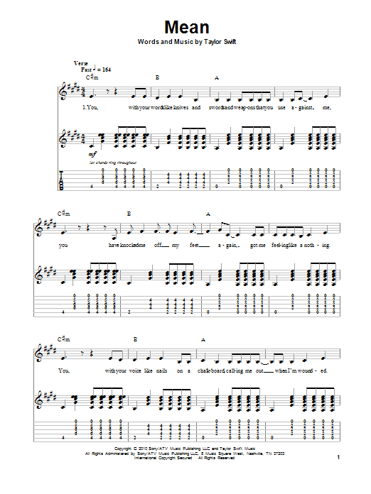 Mean by Taylor Swift - Guitar Tab Play-Along - Guitar Instructor