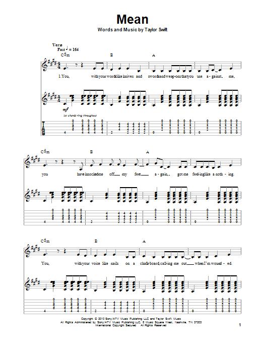 Tablature guitare Mean de Taylor Swift - Autre