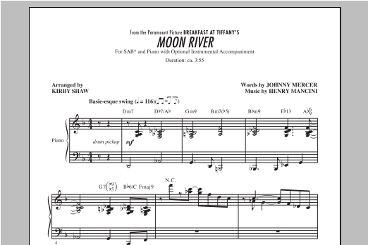Moon River (arr. Kirby Shaw) Sheet Music