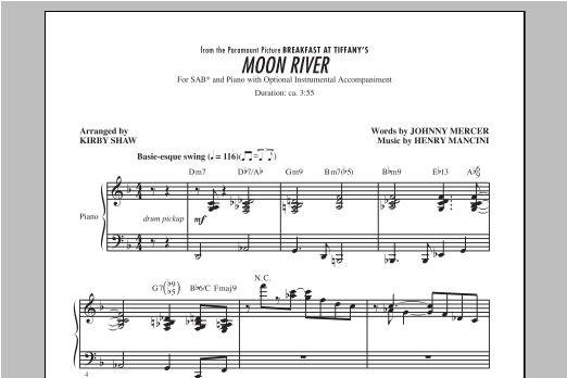 Partition chorale Moon River de Henry Mancini - SAB
