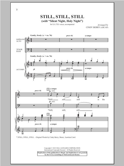 Partition chorale Silent Night de Cindy Berry - SATB