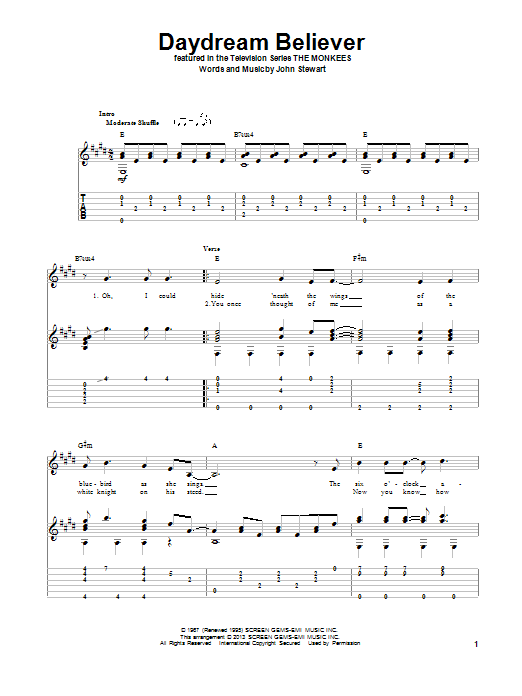 Tablature guitare Daydream Believer de The Monkees - Tablature Guitare