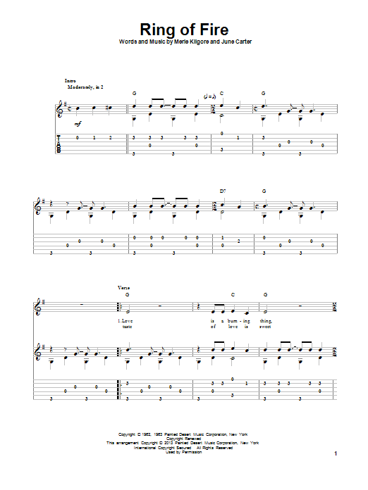 Tablature guitare Ring Of Fire de Johnny Cash - Tablature Guitare