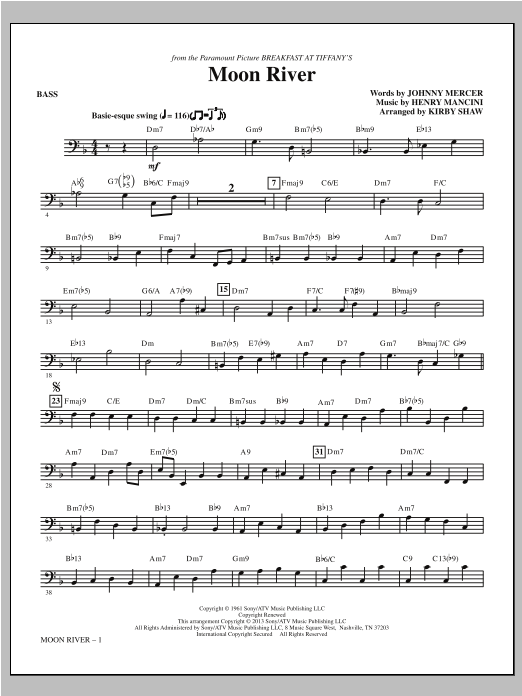 Moon River - Bass Sheet Music