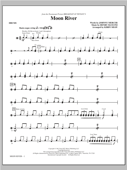 Moon River - Drums Sheet Music