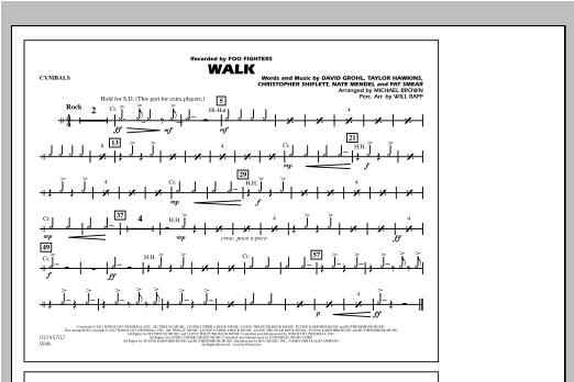 Walk - Cymbals Sheet Music