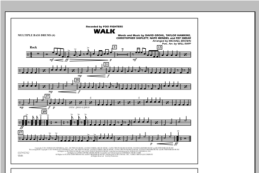 Walk - Multiple Bass Drums Sheet Music