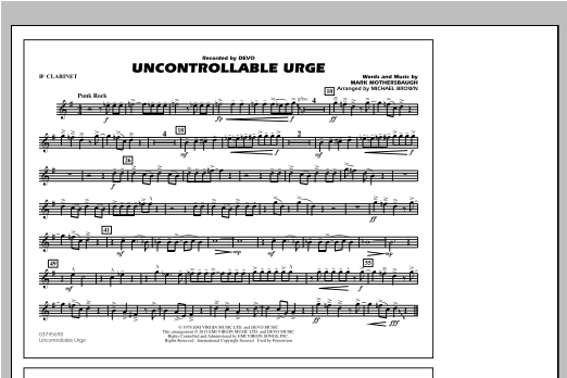 Uncontrollable Urge - Bb Clarinet Sheet Music