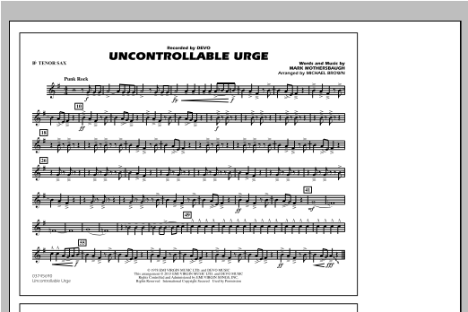Uncontrollable Urge - Bb Tenor Sax Sheet Music