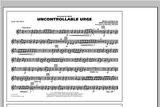 Uncontrollable Urge - 3rd Bb Trumpet Sheet Music