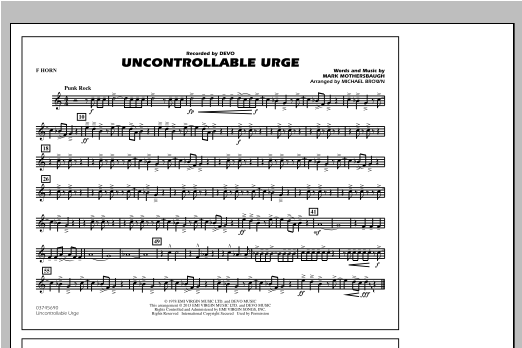 Uncontrollable Urge - F Horn Sheet Music