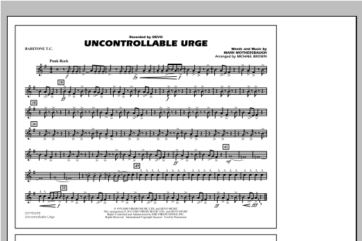 Uncontrollable Urge - Baritone T.C. Sheet Music