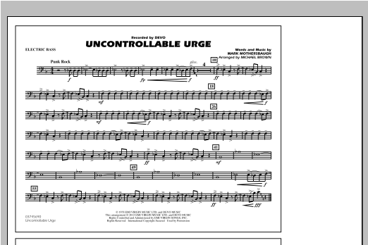 Uncontrollable Urge - Electric Bass Sheet Music