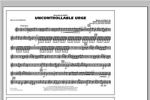 Uncontrollable Urge - Bells/Xylophone Sheet Music