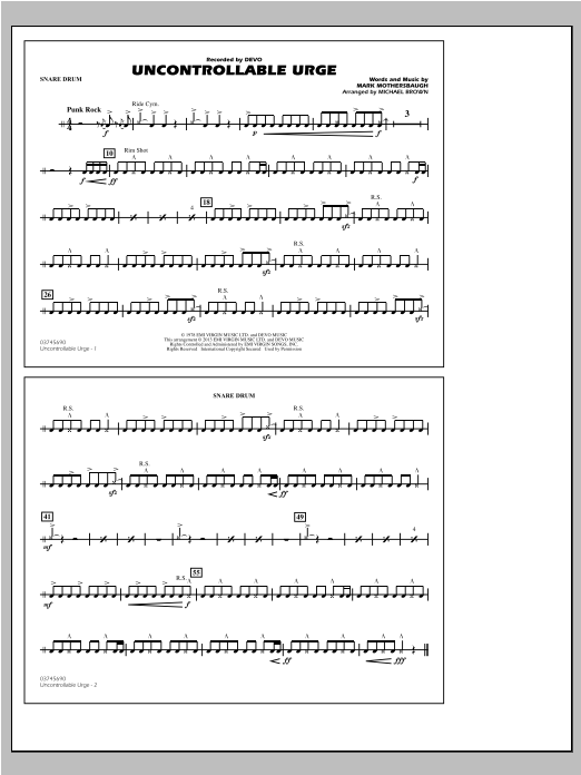 Uncontrollable Urge - Snare Drum Sheet Music