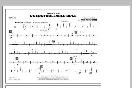Uncontrollable Urge - Cymbals Sheet Music