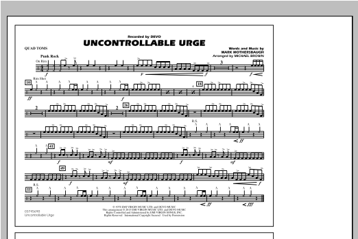 Uncontrollable Urge - Quad Toms Sheet Music