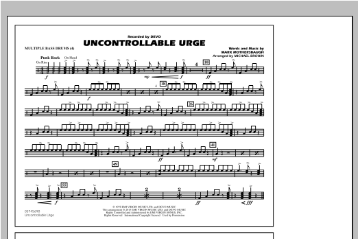 Uncontrollable Urge - Multiple Bass Drums Sheet Music