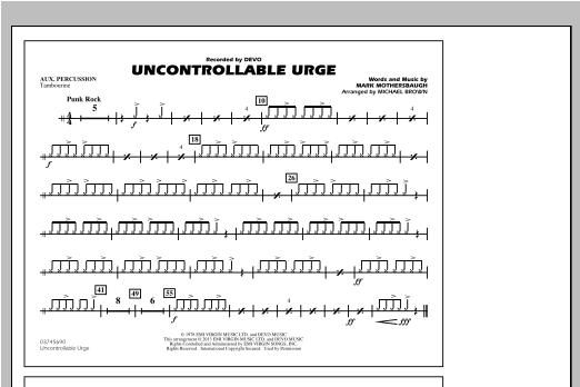 Uncontrollable Urge - Aux Percussion Sheet Music