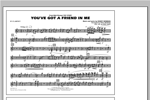 You've Got a Friend in Me (from Toy Story 2) (arr. Paul Murtha) - Bb Clarinet Sheet Music
