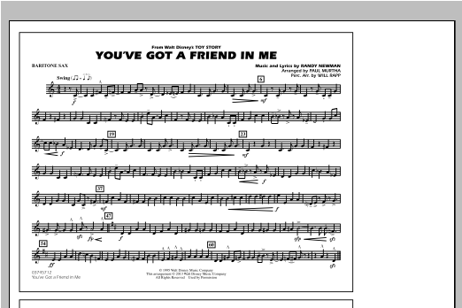 You've Got a Friend in Me (from Toy Story 2) (arr. Paul Murtha) - Eb Baritone Sax Sheet Music