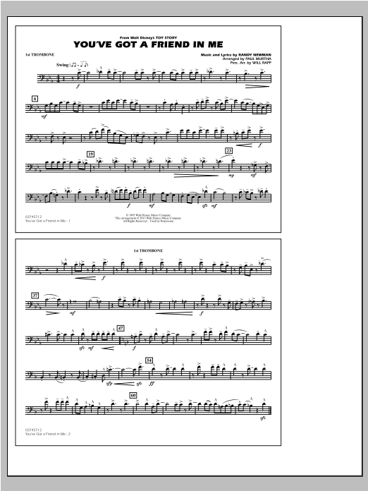 You've Got a Friend in Me (from Toy Story 2) (arr. Paul Murtha) - 1st Trombone (Marching Band)