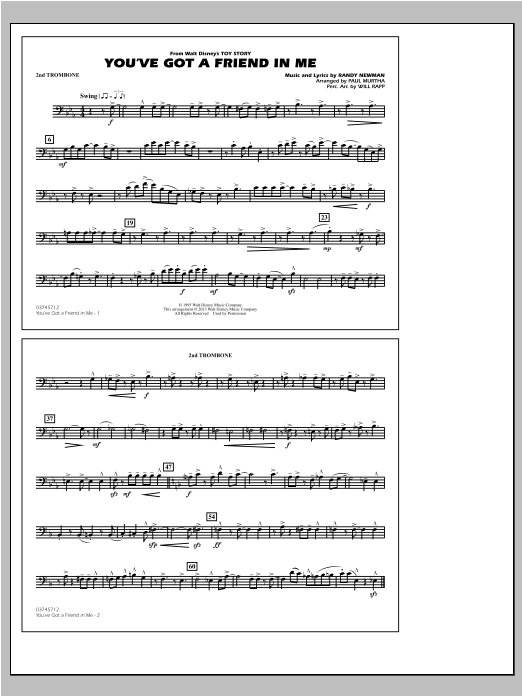 You've Got a Friend in Me (from Toy Story 2) (arr. Paul Murtha) - 2nd Trombone Sheet Music