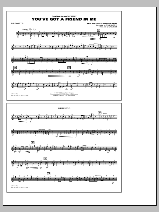 You've Got a Friend in Me (from Toy Story 2) (arr. Paul Murtha) - Baritone T.C. Sheet Music