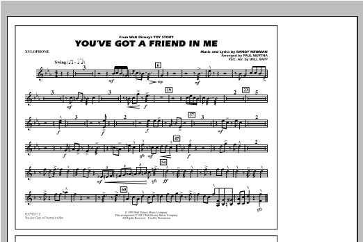 You've Got a Friend in Me - Xylophone Sheet Music