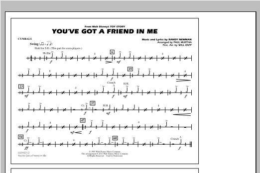 You've Got a Friend in Me (from Toy Story 2) (arr. Paul Murtha) - Cymbals Sheet Music
