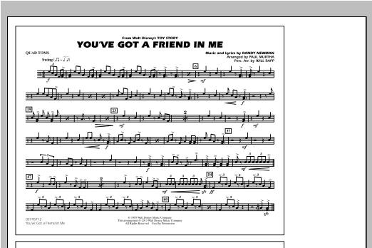 You've Got a Friend in Me (from Toy Story 2) (arr. Paul Murtha) - Quad Toms Sheet Music