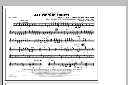 All Of The Lights - Bb Clarinet Sheet Music