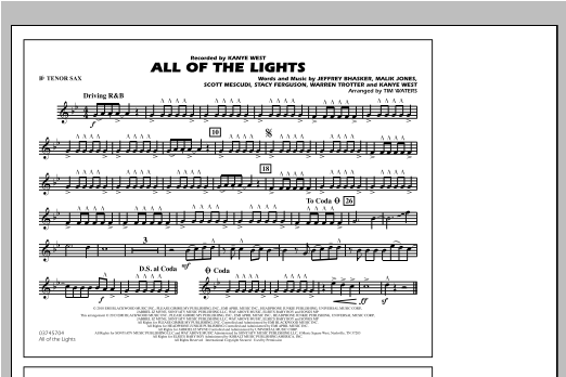All Of The Lights - Bb Tenor Sax Partition Digitale