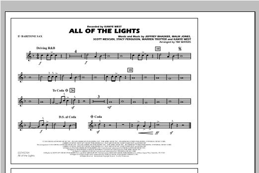 All Of The Lights - Eb Baritone Sax Sheet Music