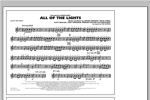 All Of The Lights - 2nd Bb Trumpet Sheet Music