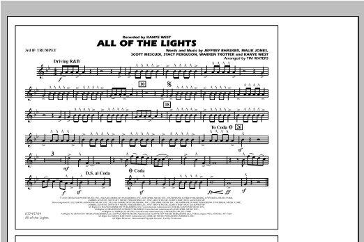 All Of The Lights - 3rd Bb Trumpet Sheet Music