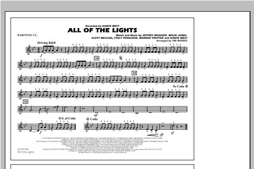 All Of The Lights - Baritone T.C. Sheet Music