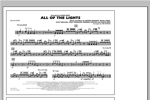 All Of The Lights - Quad Toms Partituras Digitales
