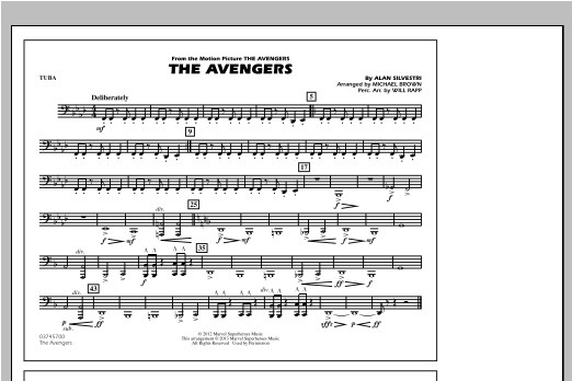 The Avengers - Tuba by Michael Brown Marching Band Digital Sheet Music