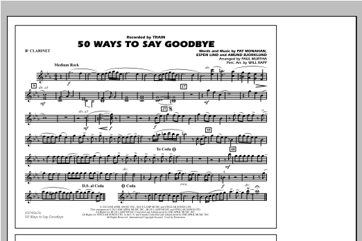 50 Ways To Say Goodbye - Bb Clarinet Sheet Music