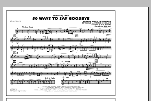 50 Ways To Say Goodbye - Eb Alto Sax Sheet Music