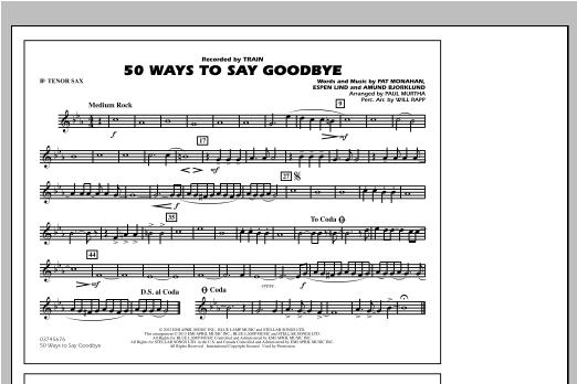 50 Ways To Say Goodbye - Bb Tenor Sax Sheet Music