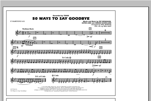 50 Ways To Say Goodbye - Eb Baritone Sax Sheet Music
