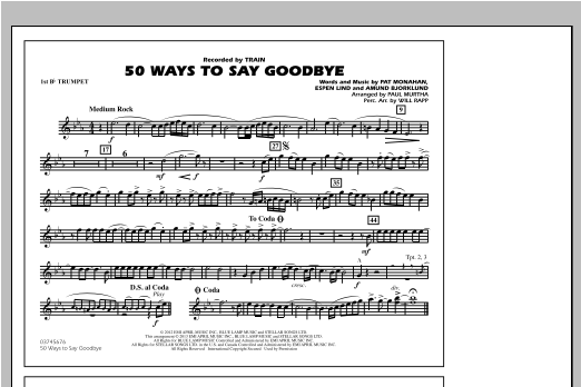 50 Ways To Say Goodbye - 1st Bb Trumpet Sheet Music