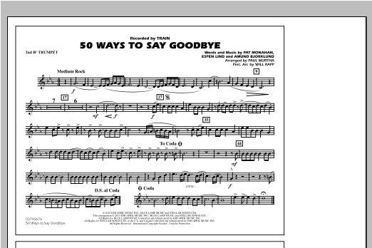 50 Ways To Say Goodbye - 2nd Bb Trumpet Sheet Music